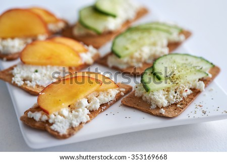 Fresh ricotta cottage cheese healthy snack stock photo 353169668 fresh ricotta cottage cheese healthy snack starter platter with sliced peach nectarine and cucumber perfect sisterspd