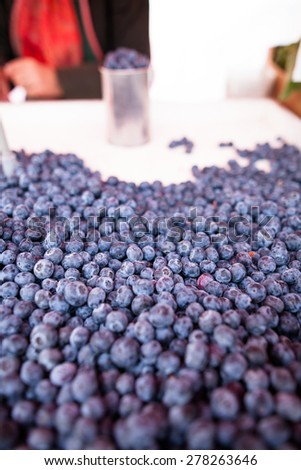 Fresh, ripe and delicious blueberries - stock photo