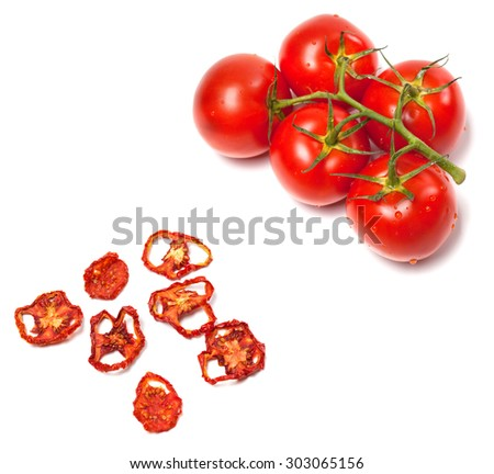 Fresh ripe and dried tomatoes slices. Isolated on white background. - stock photo