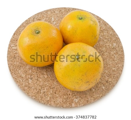 Fresh Ripe and Sweet Oranges Isolated on White Background, Orange Is The Fruit of The Citrus Species. - stock photo