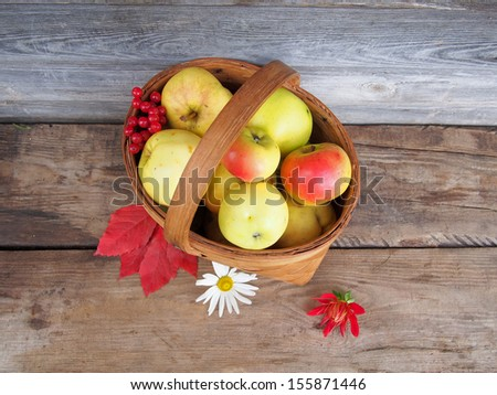 Fresh ripe apples in a basket on a vintage wooden table. Autumn still life. - stock photo