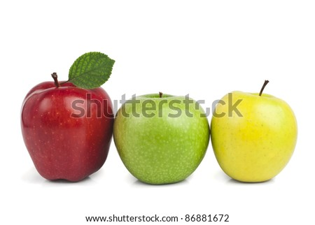 Fresh ripe apples isolated on white