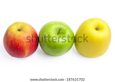 Fresh ripe apples on a white background - stock photo