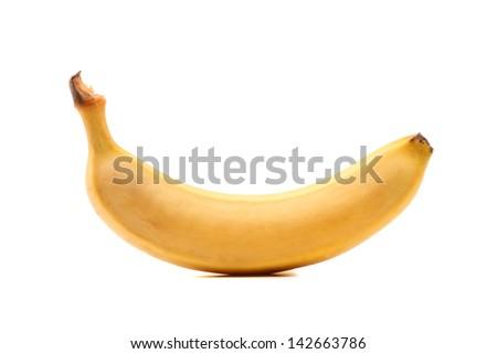 fresh ripe banana isolated on a white background - stock photo