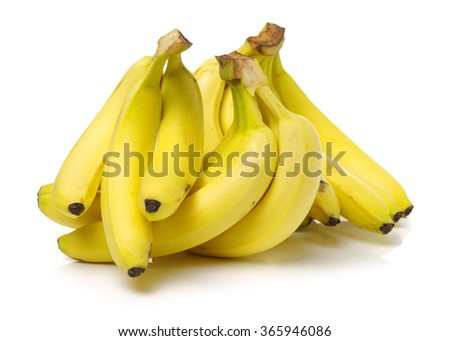 Fresh ripe bananas on white background  - stock photo