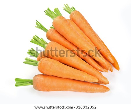 Fresh ripe carrots isolated on white