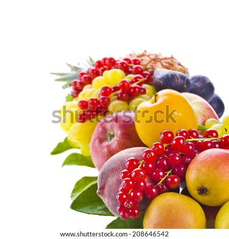 fresh ripe fruits and berries laid out as a board  isolated on white background