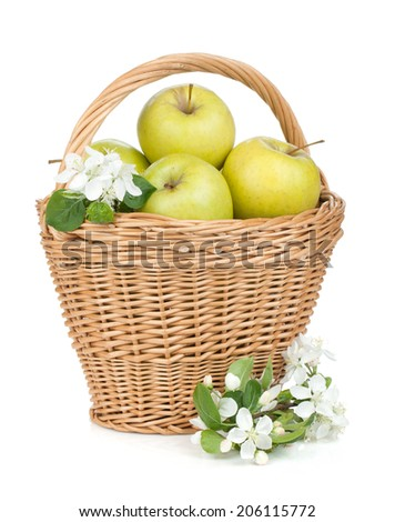 Fresh ripe green apples in basket. Isolated on white background - stock photo