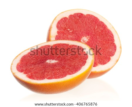 Fresh ripe half grapefruit on white background isolated on white background - stock photo