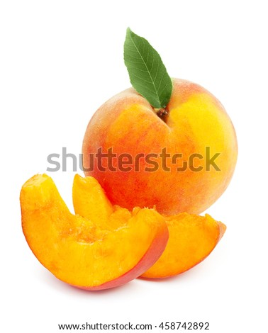 Fresh ripe juicy red peach with green leaf and two slices isolated on a white background. - stock photo