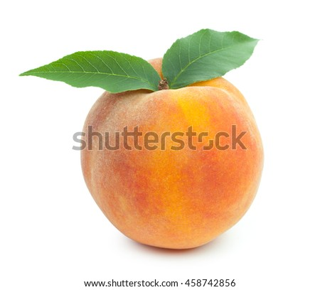 Fresh ripe juicy red peach with pair of green leaves isolated on a white background. - stock photo