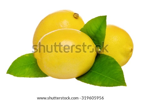 Fresh ripe lemon with green leaves isolated on white background - stock photo