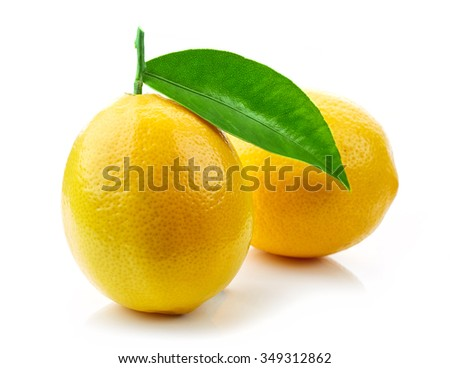 fresh ripe lemons with green leaf isolated on white background