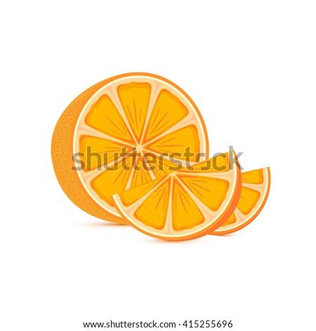 Fresh ripe orange and slices isolated on white background, illustration. - stock photo