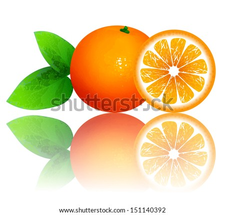 fresh ripe oranges with leaves. Raster version of vector illustration - stock photo