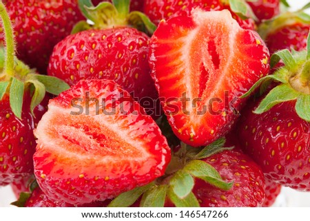 Fresh ripe perfect cut strawberry - Food Frame Background