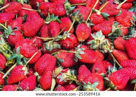 Fresh ripe perfect strawberry background - stock photo