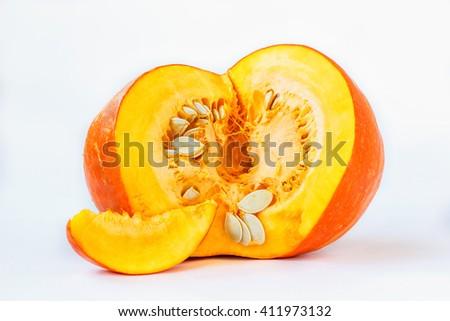 fresh ripe pumpkin over white background - stock photo