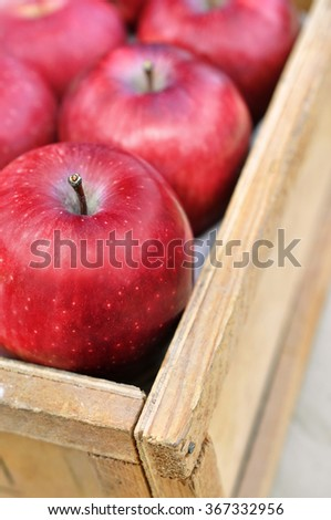 Fresh ripe red apples in crate - stock photo