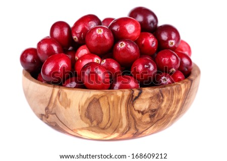 Fresh, ripe, red cranberries on a white background - stock photo