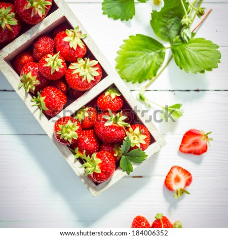 Fresh ripe red strawberries in boxes displayed on white painted wooden boards at a farmers market wih fresh green leaves and a halved berry showing the succulent pulp, overhead view - stock photo