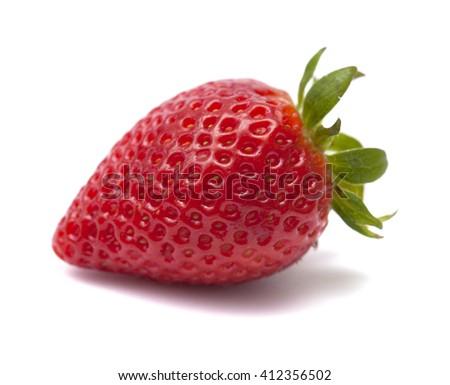 fresh ripe strawberries isolated on white background - stock photo