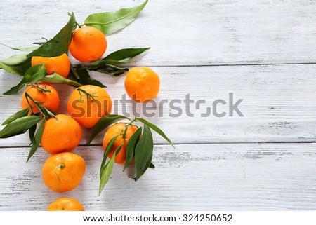 fresh ripe tangarines top view, fruits - stock photo
