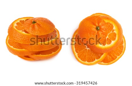 Fresh ripe tangerine cut in slices isolated over the white background