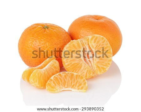 fresh ripe tangerines isolated on white background - stock photo