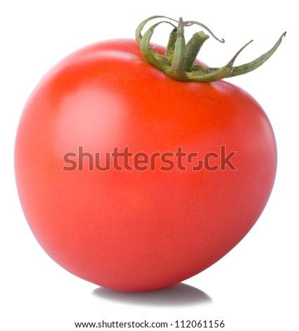 fresh ripe tomato  isolated on white background - stock photo