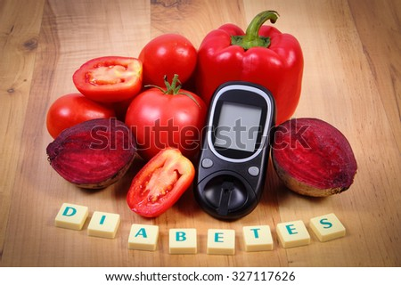 Fresh ripe vegetables, glucose meter and word diabetes on wooden table, healthy lifestyle and nutrition, measurement of sugar