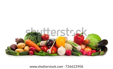 Fresh ripe vegetables isolated on white background