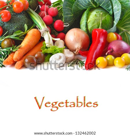 Fresh ripe vegetables on a white background. - stock photo