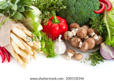 Fresh ripe vegetables on a white background.