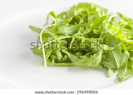 Fresh rocket leaves on a white plate - stock photo