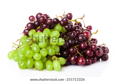 fresh rose and green grapes - stock photo