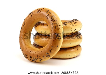 Fresh Russian bagels on a white background - stock photo