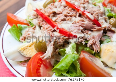 Fresh salad - Delicious fresh salad with tomatoes - stock photo