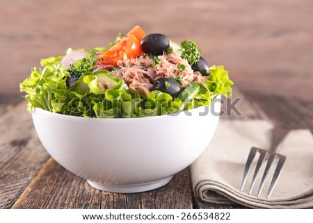 fresh salad in bowl - stock photo