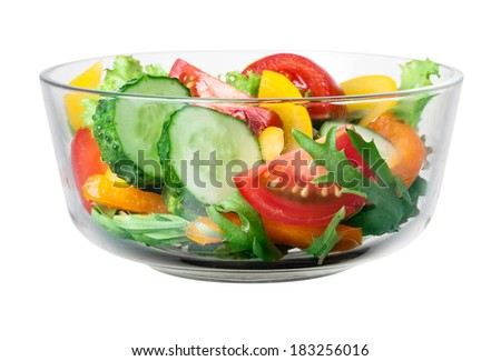 Fresh salad in bowl. With clipping path