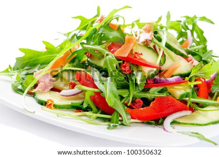 Fresh salad isolated on white - stock photo
