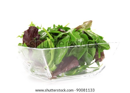 Fresh Salad leaves over white - stock photo