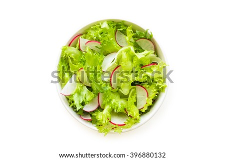 fresh salad leaves with radish in a bowl, isolated on white background, top view. - stock photo