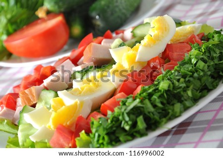 Fresh salad with chicken breast,lettuce, eggs and tomatoes - stock photo