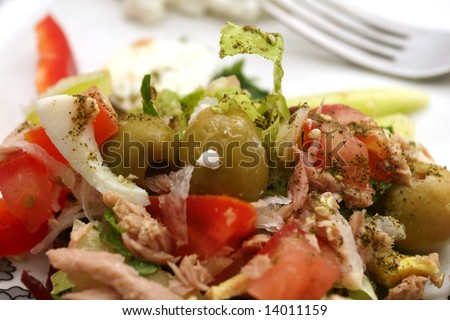 Fresh salad with egg and cheese