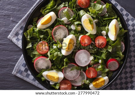 Fresh salad with egg, radishes and sorrel close up on the table. Horizontal top view - stock photo