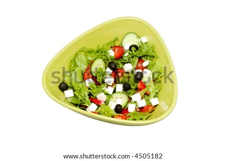 Fresh salad with feta and olives