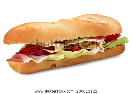 Fresh salad with ham on a crusty golden French baguette for a healthy snack or meal, isolated on white background - stock photo