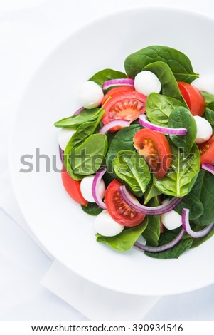 Fresh salad with mozzarella cheese, tomato, spinach and purple onion on white background top view. Healthy food. - stock photo