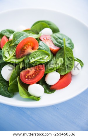 Fresh salad with mozzarella cheese, tomatoes and spinach on blue wooden background close up. Healthy food. - stock photo
